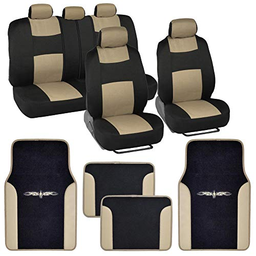 BDK Beige Combo Fresh Design Matching All Protective Seat Covers (2 Front 1 Bench) with Heavy Protection Sleek Graphic Auto Carpet Floor Mats (4 Set)