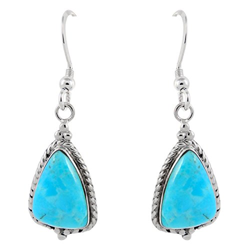925 Sterling Silver Earrings Genuine Turquoise Drop Dangles (Turquoise) Sterling Silver Turquoise