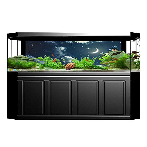 UHOO2018 Aquarium Collage Collection Crescent Moon and Stars on a Cloudy Starry Night Sky with Moonlight Paper Fish Tank Backdrop Static Cling Wallpaper Sticker 35.4