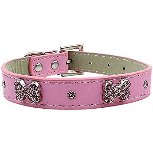 Parisian Pet Diamante Bones Dog Collar, Medium, Pink