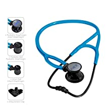 MDF® ProCardial ERA Cardiology Lightweight Dual Head Stethoscope with Adult, Pediatric, and Infant-Neonatal convertible chestpiece - All Black / Bright Blue