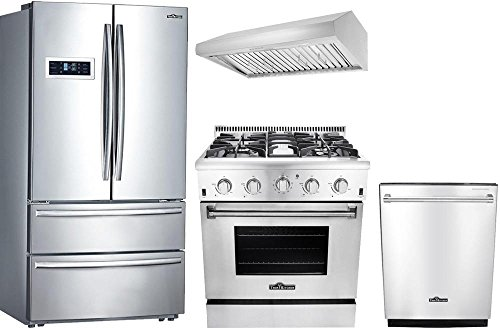 Thor Kitchen 4-Piece Stainless Steel Kitchen Package with HRF3601F 36