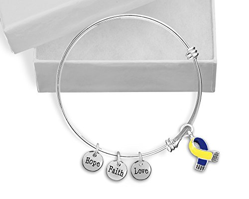 Blue & Yellow Ribbon Awareness Retractable Charm Bracelet in a Gift Box (Retail) Blue Awareness Ribbon Charm
