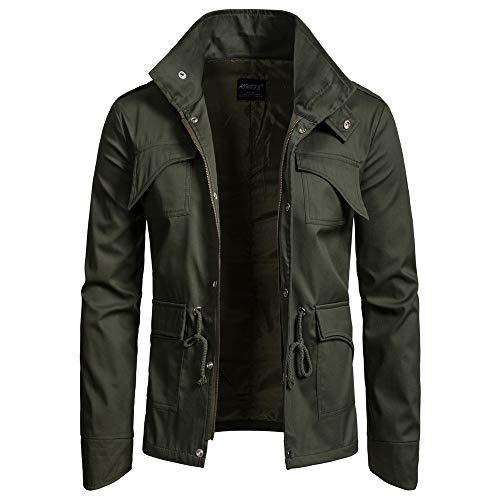 (iLXHD Windbreaker Zipper Jackets Pullover Pocket Long Sleeve Hooded Sweatshirt (Army Green,L))