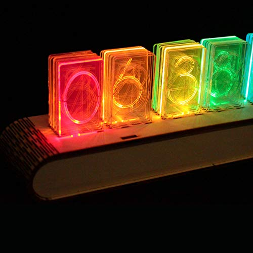 NIXT CLOCK - Acrylic Led Nixie Clock DIY Kit - Android WiFi Apps - Full  Color with Wood Case