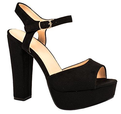 Chunkyrayan de Aspect bloc Elara plateau daim Noir Chaussures Talon par confortable peau fgpq6ZO1Z