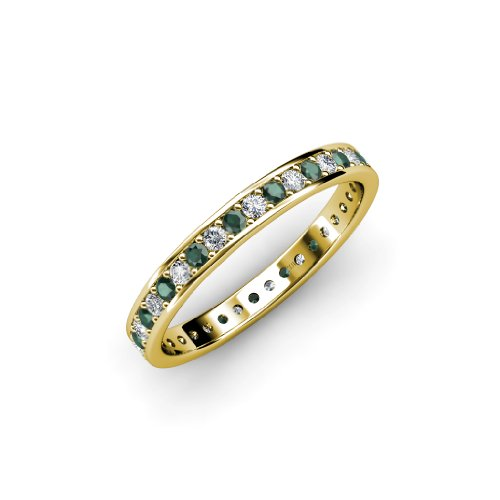0.56 Ct Tw Diamond (Emerald and Diamond Channel Prong Eternity Band 0.56ct tw to 0.64ct tw in 18K Yellow Gold.size 6.0)