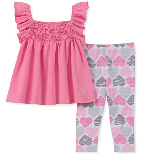Calvin Klein Baby Girls 2 Pieces Legging Set Pants, Pink,