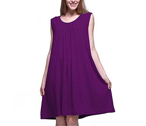 Price comparison product image JIANGTAOLANG Sleeveless Female Round-Neck Sleepwear Soft Viscose Fiber Dress Dark Purple nightgow XXXL