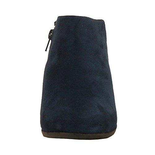 Bella Marie AE47 Damen Seitliche Reißverschluss Stacked Block Heel Ankle Booties Blaues Wildleder