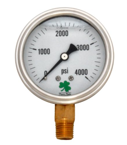 Zenport LPG4000 Zen-Tek Glycerin Liquid Filled Pressure Gauge, 4000 PSI, Box of 10 by Zenport