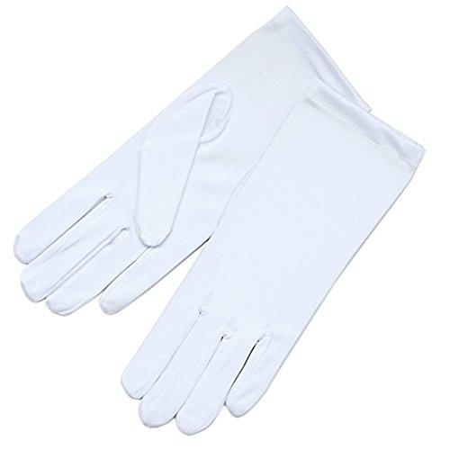 Girls or Children White MATTE short gloves, kids BRIDAL QUALITY gloves (4-7)