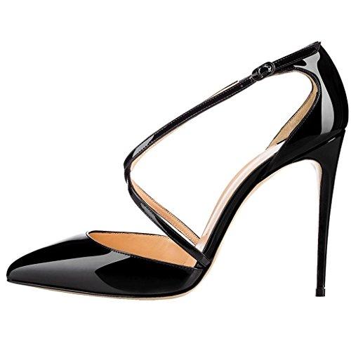 Heels Spitze High Pumps Zehen Knöchelriemchen Stilettos EDEFS Schuhe Damen Schwarz Übergröße qRwEttY