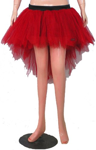 Red Seven Layers Trashy Tutu Skirt Peacock Bustle Halloween (Adult Peacock Tutu)