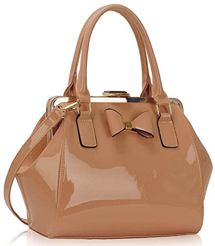Womens Leather Females Medium New Nude Look Bags Design 1 Fashion Bow Ladies Patent Size Handbags With For Designer tw7qtBC5