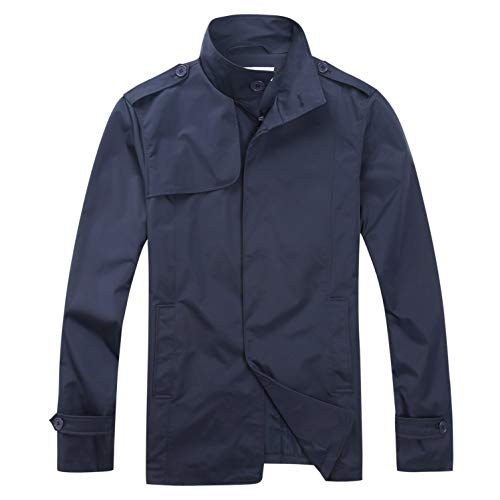 Common District Mens Trenchcoat Jacket, Mens Big and Tall Casual Windbreaker Dark Navy]()