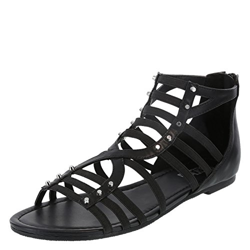Zippered Women Sandals - Brash Black WomenStudmuffin Gladiator 9.5 Regular