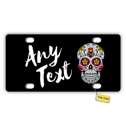 Tobe Yours Personalized Name Custom Any Text - Halloween Candy Skull Fire Day The Dead Printed Auto Truck Car Front Tag Personalized Metal License Plate Frame Cover 6