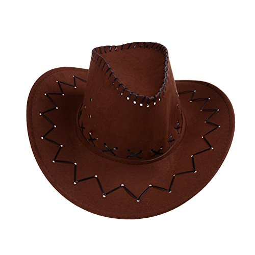 Novelty Unisex Western Cowboy Hat Brown for Theme Party Cosplay