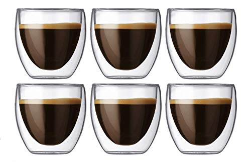 Tebery 6 Pack Coffee Mugs Drinking Glasses Shot Glass Double Wall Thermo Glasses Thermal Insulated Cups, Espresso Latte Cappuccino Stackable Glassware(80ML) (Thermal Drinking Cups)