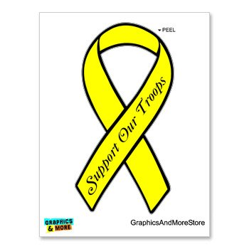 - Graphics and More Support Our Troops Ribbon - Yellow - Window Bumper Locker Sticker