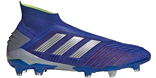 adidas Men's Predator 19+ Soccer Cleats (10.5, Blue/Silver)