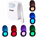 SOLMORE Toilet Night Light Sensor Motion Activated LED Toilet Light,Toilet Bowl Light,Seat Night Light,LED Washroom Night Light,Home Toilet Bathroom Night Lamp 8-Color Changes