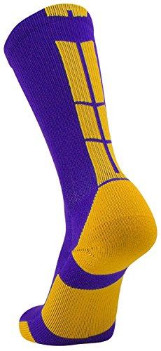 TCK Sports Elite Performance Crew Socks, Purple/Gold, Large