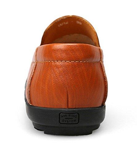 Tda Menns Komfort Pustende Mesh Slip-on Skinn Penny Loafers Søm Uformell Sko Stil 1-rød Brun