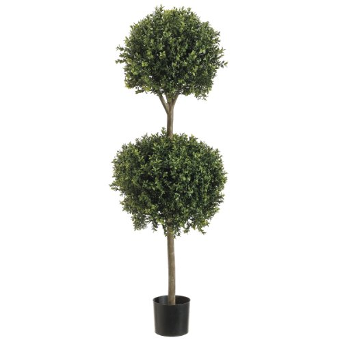 4' Double Ball-shaped Boxwood Topiary in Plastic Pot Two Tone Green by Silk Dcor