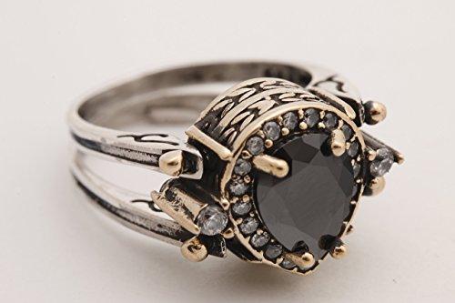 Turkish Jewelry Handmade 2 rings in 1 ring Reversible Drop Shape Pear Cut Shiny Black Onyx Topaz 925 Sterling Silver Ring Size (Shape Onyx)