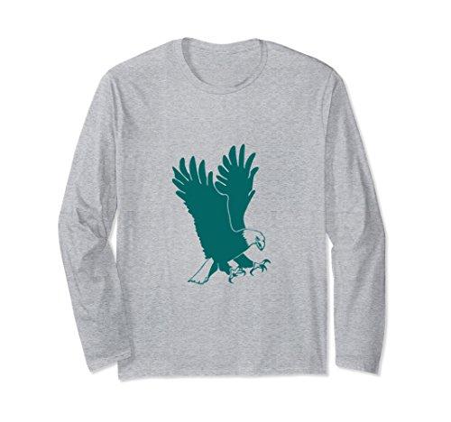 Philadelphia Eagles Long Sleeve Game (Unisex Bald Eagle Green Silhouette Long Sleeve T-Shirt Large Heather Grey)