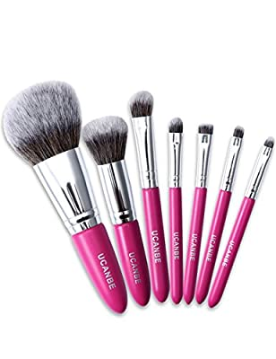 Makeup Brush Set,POTO 7Pcs Fiber Wooden Handle Foundation Blush Eyebrow Powder Eyeshadow Lip Brush Cosmetic Makeup Brush Kit RY-424