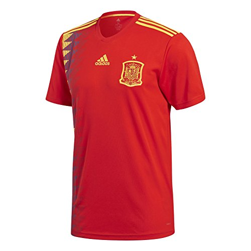 adidas Mens Spain Official Jersey, Red/Bold Gold, (Adidas Spain Soccer Jersey)
