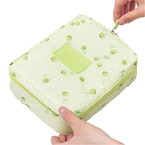Travel Cosmetic Bags Beautician Vanity Necessary Pouch Toiletry Wash Bra Underwear Makeup Case Organizer Accessories Green Cherries