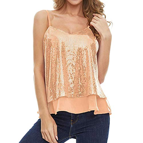 ZEFOTIM Women Sleeveless Sexy Blouse Sequined Strappy V Neck Camis Tank Top Crop Shirt(Yellow,Large)