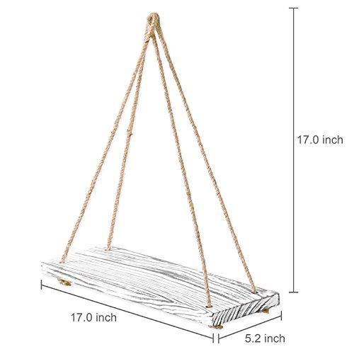 MyGift 17-inch Whitewashed Wood Hanging Rope Swing Shelves, Set of 2 by MyGift (Image #4)