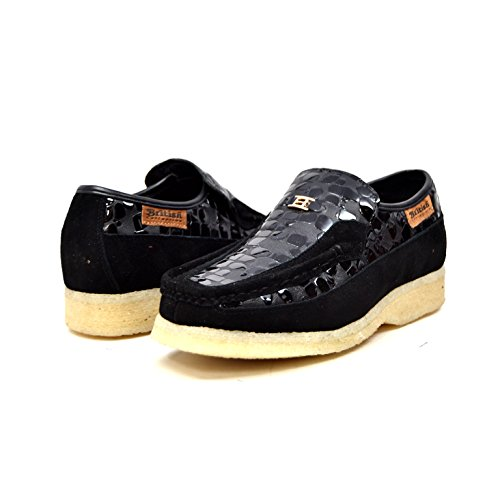 British Collection - Stone Croc Leather and Suede Black Slip On Shoes 11