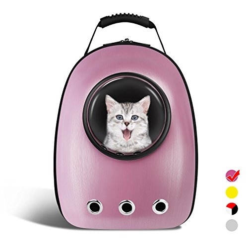 AntTech Breathable Pet Travel Backpack Space Capsule Carrier Bag Hiking Bubble Backpack for Cat & Dog Puppy-Pink