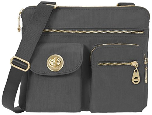Baggallini Sydney Travel Crossbody Bag Gold Hardware, Charcoal, One Size