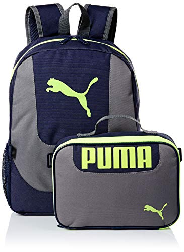 PUMA Big Kid's Lunch Box Backpack Combo, Blue/Yellow, Youth Size (Best Backpack For First Grader)