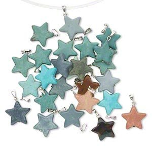 Star Pendent Gemstone Mix Multi Colors 35 Pieces