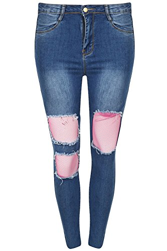 Taille Be Bleu dlav Coupe UK 8 Toile RSILLE Coupe Jeans fonc Jeans Devant Large Moulant Jealous 14 Femmes 14 Jean Genou Skinny Shorty DCHIRE X UK aS1raqAz
