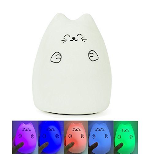Children Portable Night Light , TFSeven Adorable Kitty Silicone LED Multicolor USB Night Lamp With 8-Color Breathing Dual Light Modes, Sensitive Tap Control for Baby Adults Bedroom Kid's Gift
