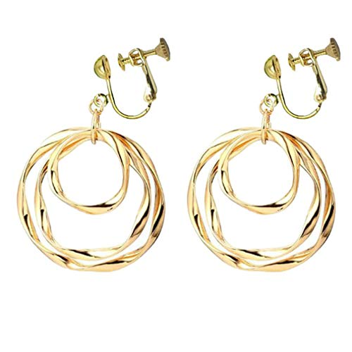 Women's Clip on Earrings Abstract Round Circle Geometric Dangle Screw Back Clips KC Gold Plated