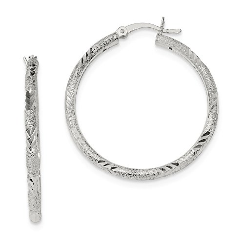 2.5mm Sterling Silver Polished Sparkle-Cut Laser-cut Hinged Hoop Earrings