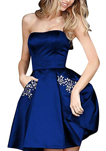 HONGFUYU 2019 Homecoming Dresses with Jewelry Pockets Chic A Line Short Satin Strapless Cocktail Dresses HFY194-Short-Royal Blue-US6