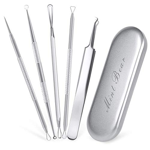 Blackhead Remover Tools Kits, 5pcs Pimple Acne Removal Tool Professional Stainless Steel Comedone Extractor Kit with Metal Case, Treatment for Blemish Whitehead Popping Zit Removing by ()