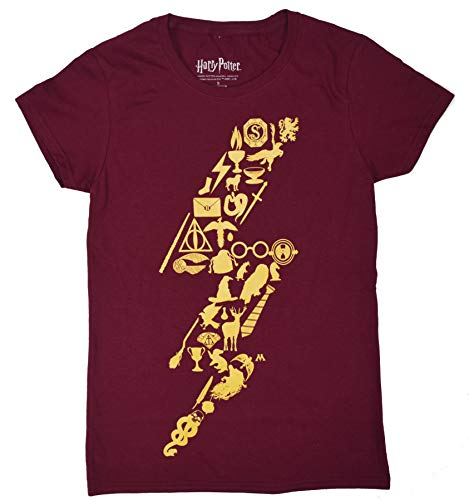 HARRY POTTER Lightning Bolt Symbols Juniors T-Shirt (Maroon,Medium) ()