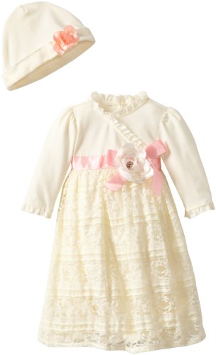 Nannette Girls' Baby-Newborn Ruffle Lace Gown with Hat